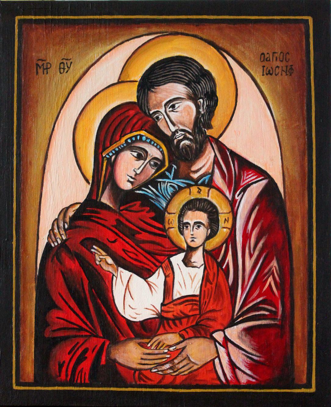 Ikona świętej Rodziny Rękodzieło Joanna Kotas